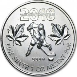 1 oz silver MAPLE LEAF 2010 VANCOUVER HOCKEY