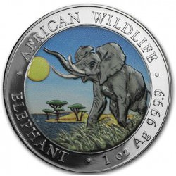 1 oz silver ELEPHANT 2016 COLOURED