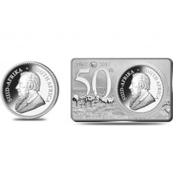 3 oz silver KRUGERRAND 2017 Anniversary Coin & Bar set