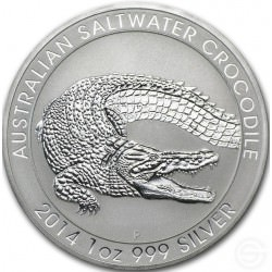 1 oz silver SALTWATER CROCODILE 2014