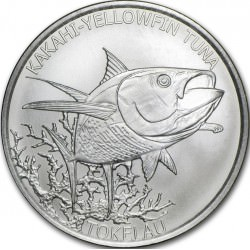1 oz silver YELLOW THUNFISH 2014 TOKALAU