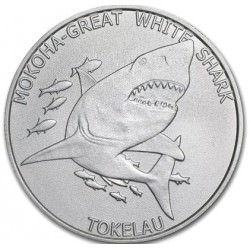 1 oz silver GREAT WHITE SHARK TOKALAU 2015