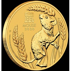 PM Lunar 3 Mouse 1/20 oz GOLD 2020 BU $5 Australia