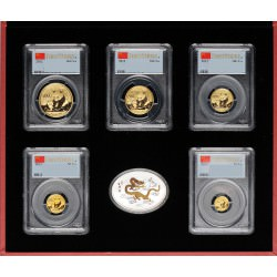CHINA 2012 Prestige Set PCGS MS-69 First Strike 5 coins 1 oz 1/2 oz 1/4 oz 1/10 oz and 1/20 oz gold 1 oz silver coins