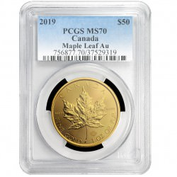 Gold Maple Leaf 1 oz 2019 PCGS MS-70