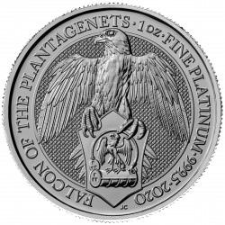 1 oz PLATINIUM PLATINUM QUEEN'S BEAST £100 FALCON OF THE PLANTAGENETS 2020