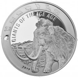 Ghana 1 oz silver GIANTS of the ICE AGE 2019 MAMMOTH 5 Cedis