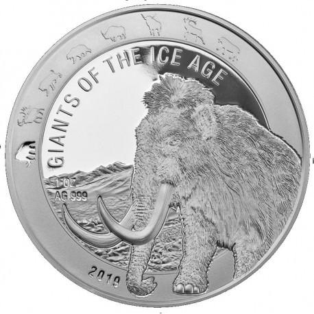 Ghana 1 oz silver GIANTS of the ICE AGE 2019 MAMMOTH 5 Cedis