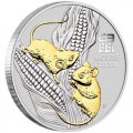PM Australian Lunar Series III 2020 Year of the Mouse 1oz Silver Gilded Coin in Capsule