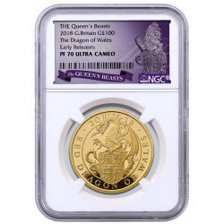 1 oz gold QUEEN'S BEAST 2017 RED DRAGON £100 Proof NGC PF70UC