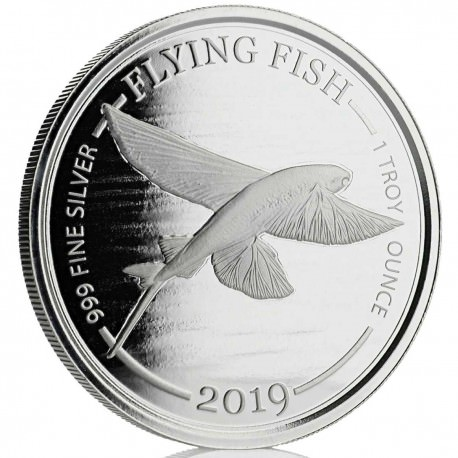 1 o silver FLYING FISH 2019 Barbados $1