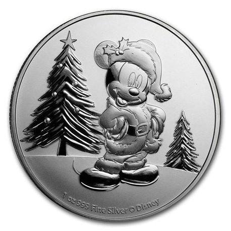 NIUE 1 oz silver Mickey Mouse CHRISTMAS 2019 $2