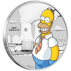 Homer Simpson 2020 1/2oz Silver Coloured Coin in Card