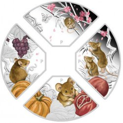 PM Year of the Mouse Quadrant 2020 1oz Silver Proof Four Coin Set
