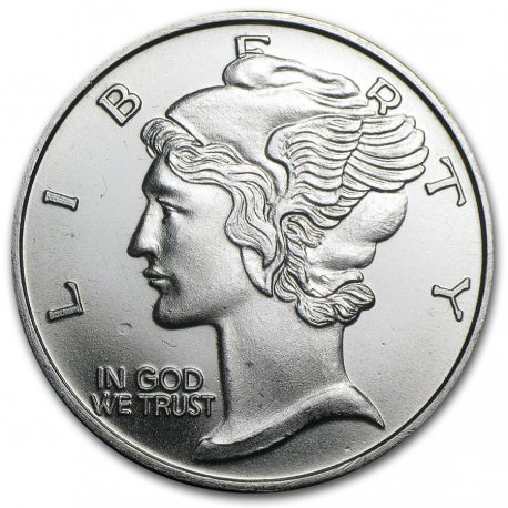 1 troy oz silver Winged Liberty Mercury E Pluribum Unum