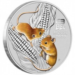 PM Lunar 3 Mouse 2 oz silver 2020 BU COLOURED $2 Australia