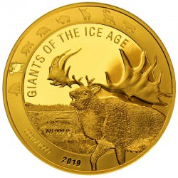 Ghana 1 oz GOLD GIANTS of the ICE AGE 2019 GIANT DEER 500 Cedis