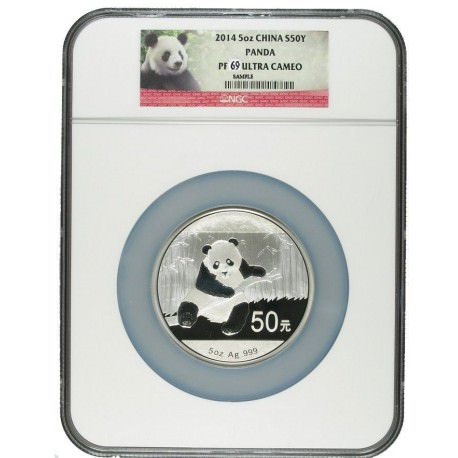 China 5 oz silver PANDA 2014 PROOF 50YN NGC PF 69 UC