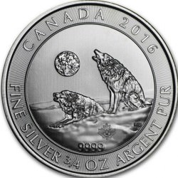 3/4 oz silver Howling Wolves 2016 $2