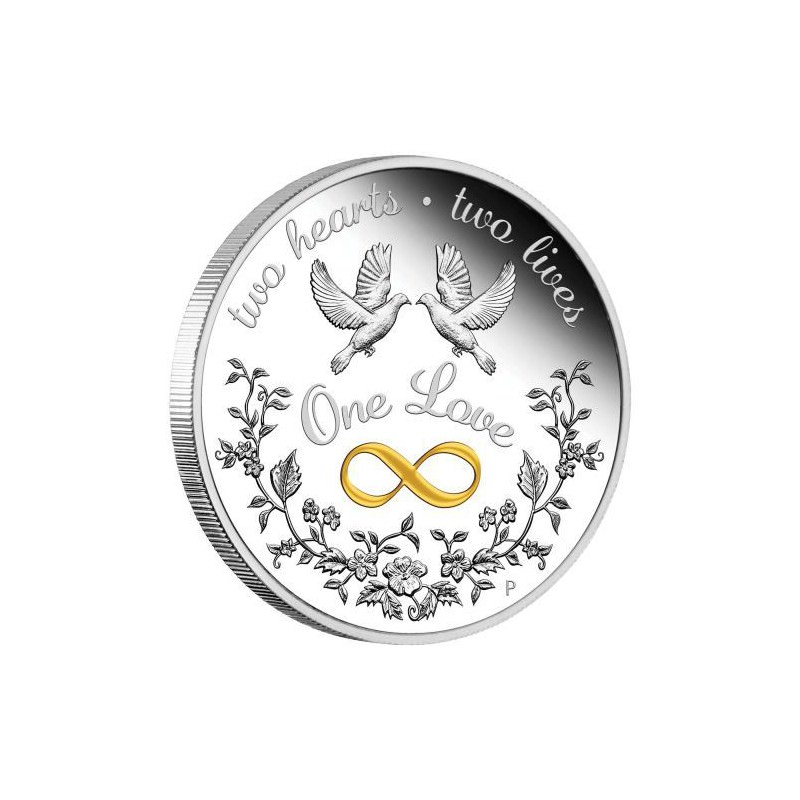 Wedding 2020 1oz Silver Proof Coin: PM One Love 2020 1oz Silver Proof Coin