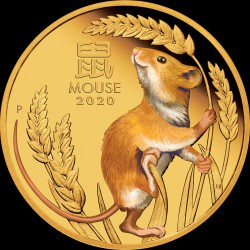 PM Australian Lunar Coin Series III 2020 Year of the Mouse 1oz Gold Proof Coloured Coin