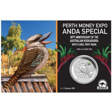 Perth Money Expo ANDA Special 30th Anniversary Australian Kookaburra 2020 1oz Silver Coin with Kangaroo Paw Privy