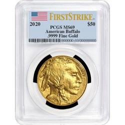 GOLD 1 oz GOLD US BUFFALO 2020 - PCGS MS-69 FS