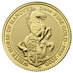 U.K. 1/4 oz gold QUEEN'S BEAST 2020 The WHITE HORSE OF HANOVER £25