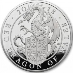 10 oz silver Queen's Beast 2018 RED DRAGON