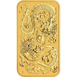 Perth Mint 1 oz RECTANGLE DRAGON $100 BAR 2020 GOLD