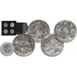 Pertyh Mint 2017 GODS OF OLYMPUS 4 x 2 oz silver High Relief Antiqued coins