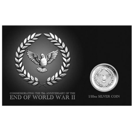 PM End of WWII 75th Anniversary 2020 1/10 oz Silver Coin in Card