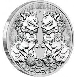 PM 1 oz silver GUARDIAN LIONS 2020 $1 DOUBLE PIXIU
