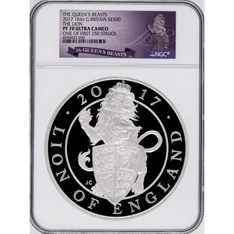 UK 1 kilo silver Queen's Beast LION 2017 PROOF NGC69 + COA