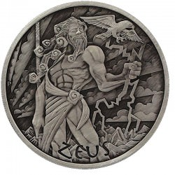 PM 1 oz silver GODS OF OLYMPUS 2020 ZEUS ANTIQUED $1