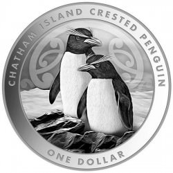 NEW ZEALAND 1 oz silver CHATHAM CRESTED PENGUIN 2020 $1