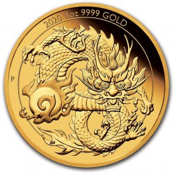 Perth Mint 1 oz GOLD DRAGON 2020 $100 PROOF Coa + Box Mintage 188