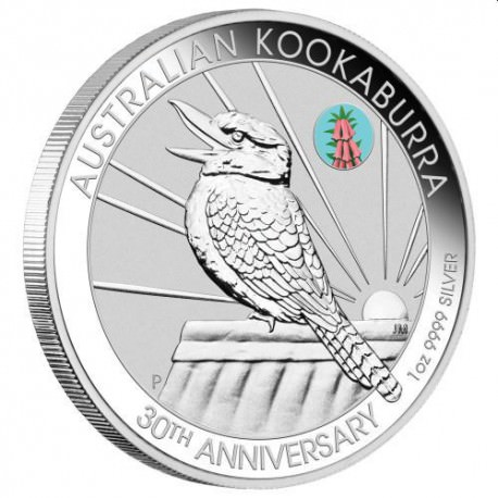 Brisbane Money Expo ANDA Special 30th Anniversary Kookaburra 2020 1oz Silver Coin With Cooktown Orchid Privy Mark