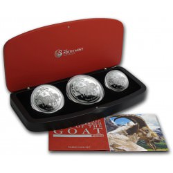 Australian Lunar Series II 2015 Year of the Goat Silver Proof Coins 3-Coin Set
