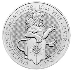 UK 10 oz silver Queen's Beast 2021 WHITE LION £10