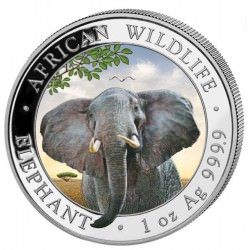 1 oz silver SOMALIA ELEPHANT 2021 Colored Shillings 100