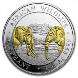 1 oz silver SOMALIA ELEPHANT 2020 Gilded Shillings 100