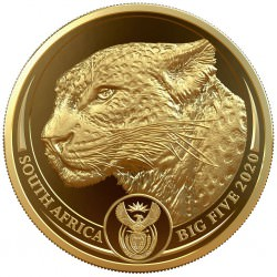 South Africa 1 oz gold BIG FIVE 2020 LEOPARD PROOF Box + Coa 50 Rand