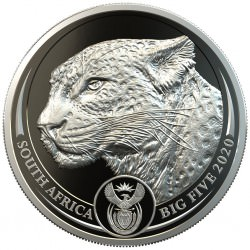 South Africa 1 oz platinum BIG FIVE 2020 LEOPARD PROOF Box + Coa 20 Rand