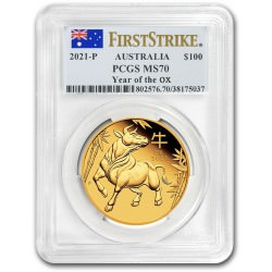 PM Lunar 3 OX 1 oz GOLD 2021 BU $100 Australia PCGS MS-70