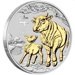 Australian Lunar Series III 2021 Year of the Ox 1oz Silver Gilded Coin IN CAPSULE