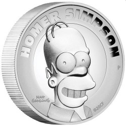 Homer Simpson 2021 2oz Silver Proof High Relief Coin
