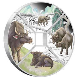 PM Year of the Ox Quadrant 2021 1oz Silver Proof Four-Coin Set