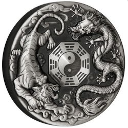 Dragon and Tiger With Bagua 2021 2oz Silver Antiqued Coin