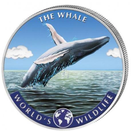 1 oz silver WW The WHALE 2020 BU COLOURED 20FR